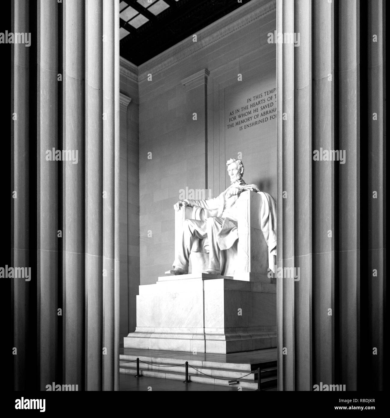 This image of Abraham Lincoln's memorial reflects his strength, stability and good judgment in his leadership of the nation during one of its most par Stock Photo