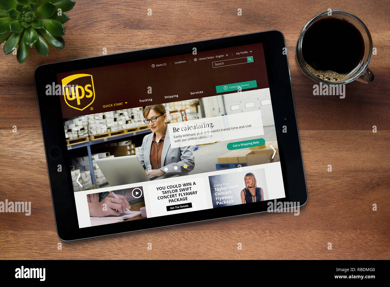 The website of UPS (United Parcel Service) is seen on an
