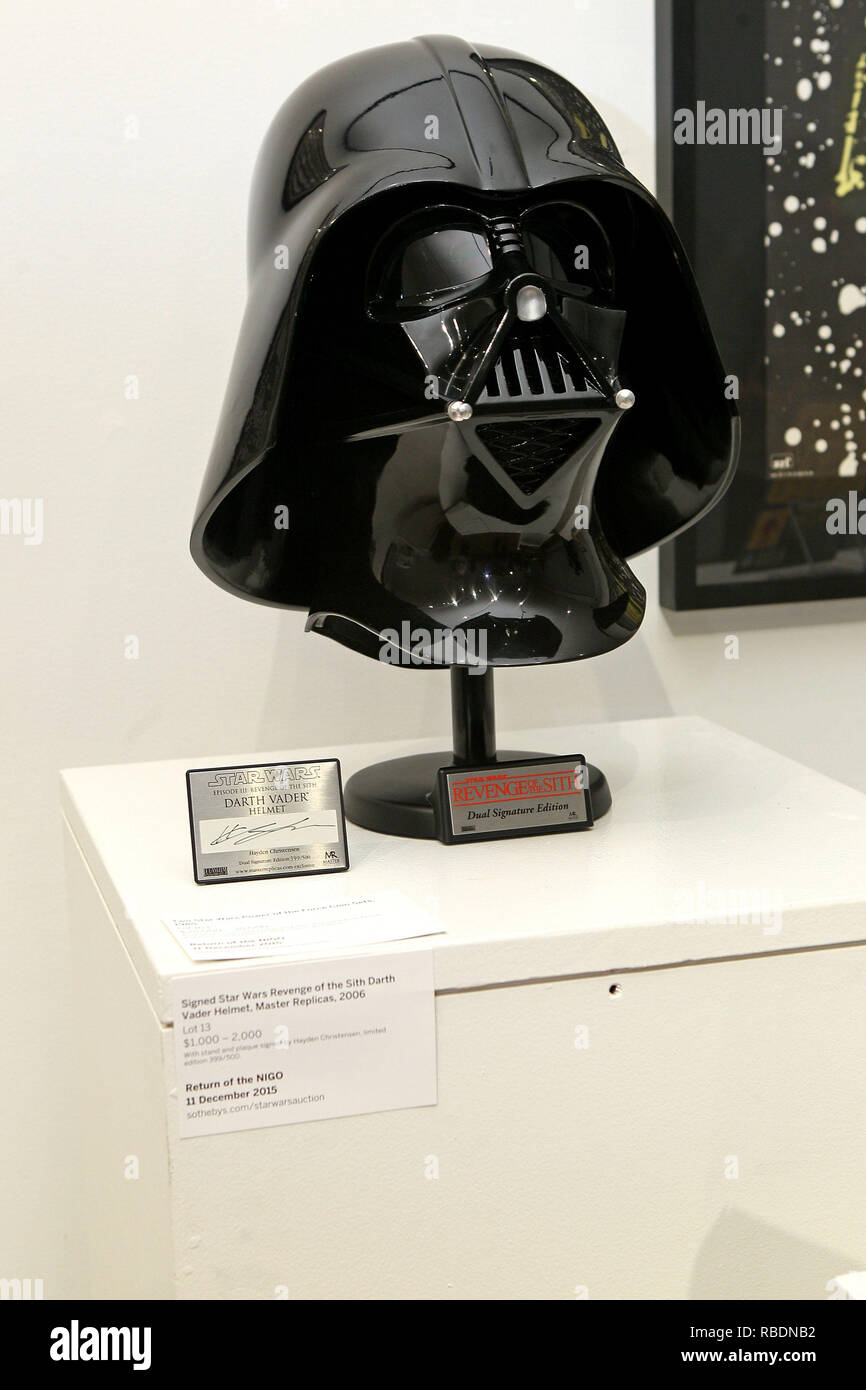 New York Ny December 02 Signed Star Wars Revenge Of The Sith Darth Vader Helmet On Display At Return Of Nigo The First Auction Of Star Wars Collectibles At Sotheby S On