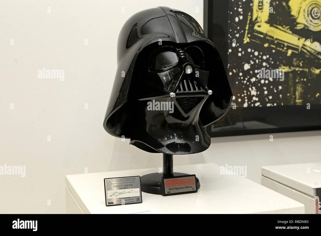 New York Ny December 02 Signed Star Wars Revenge Of The Sith Darth Vader Helmet On