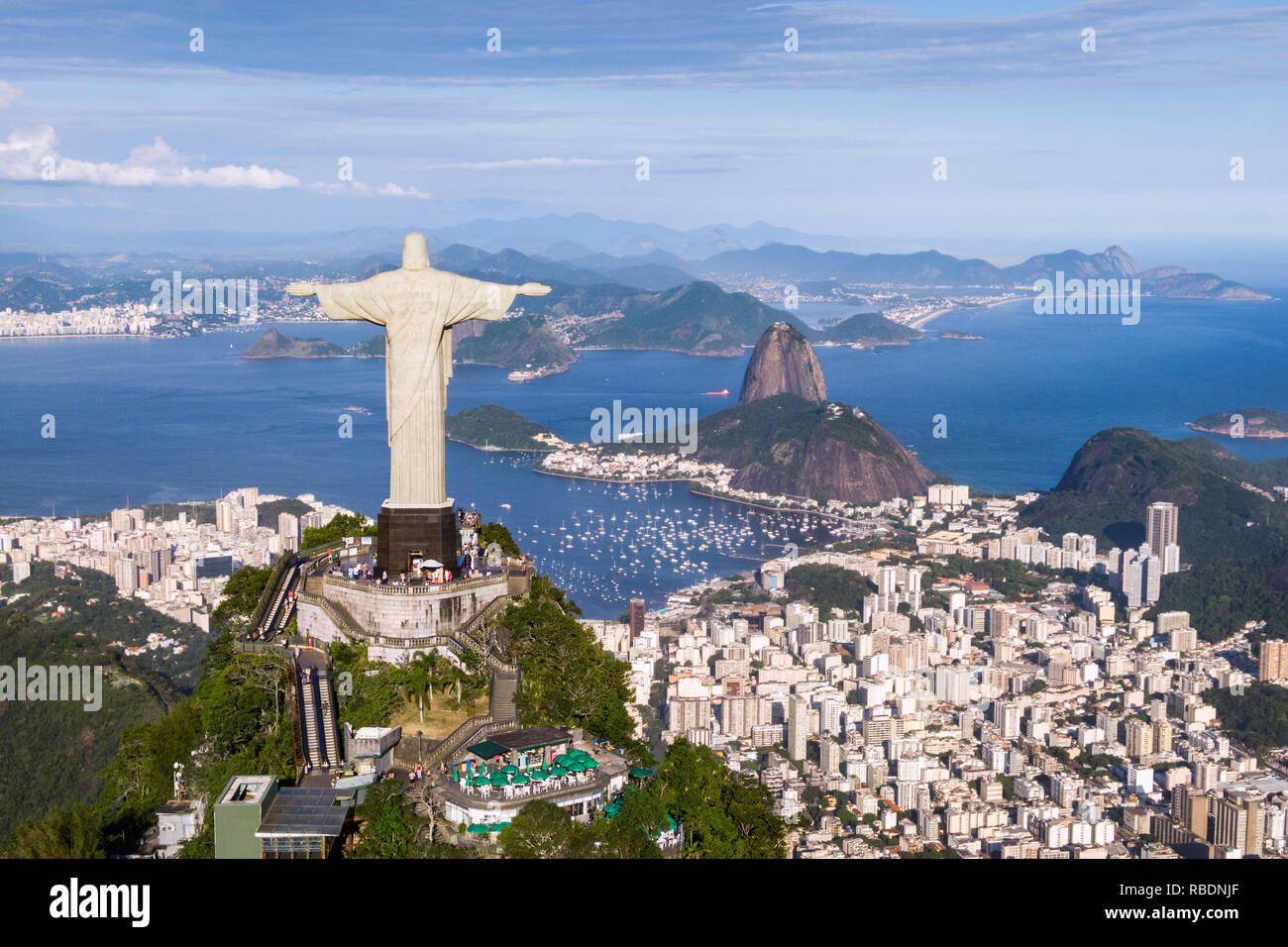 Rio de Janeiro, Brazil, aerial view of Christ the Redeemer and Sugarloaf Mountain. Stock Photo