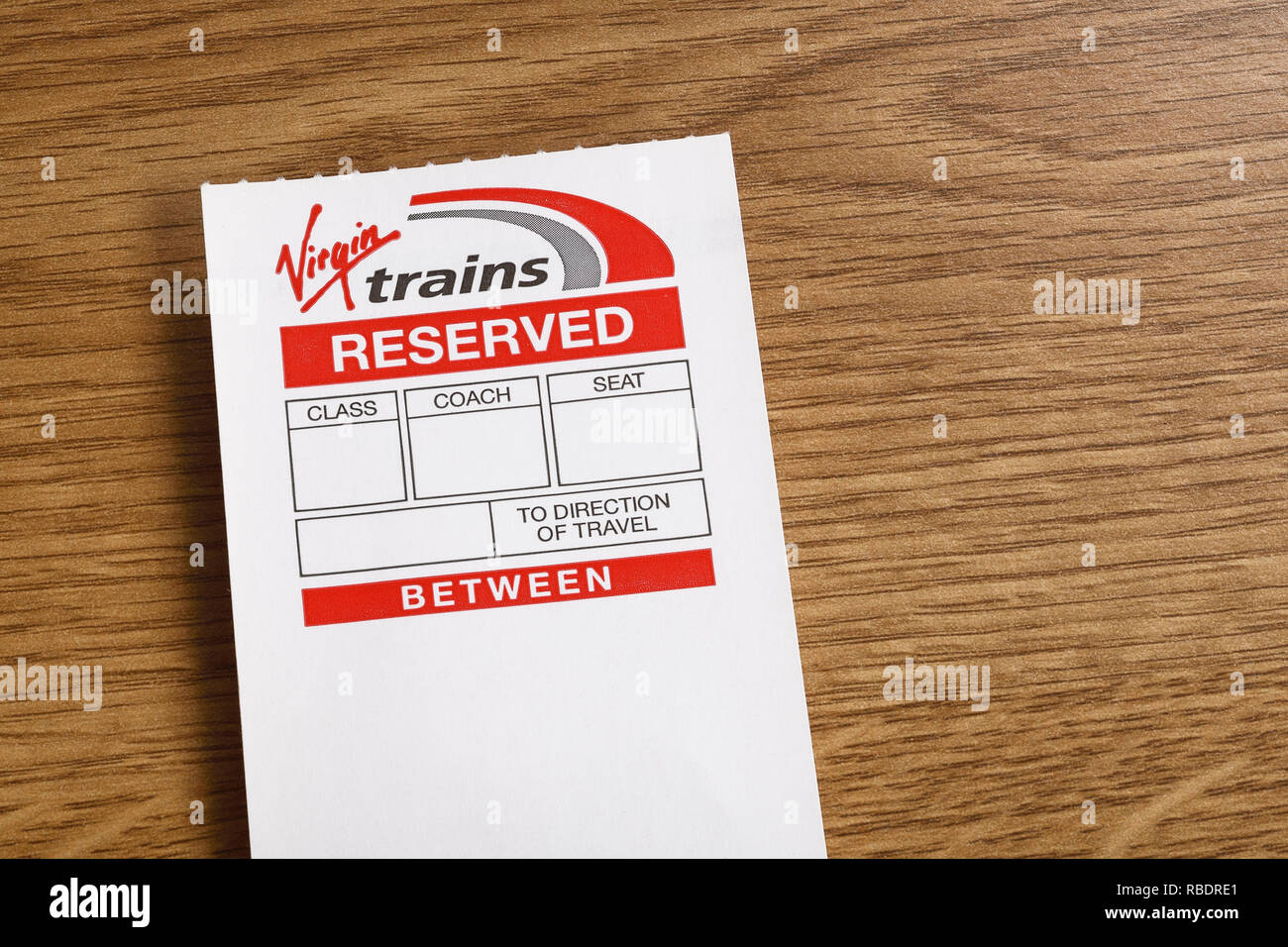 A Virgin Trains reserved seat ticket - Stock Image
