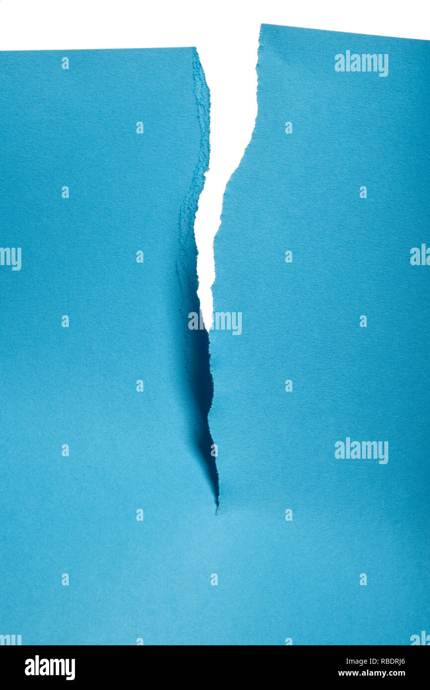A Piece Of Blue Paper Torn In Half Stock Photo Alamy