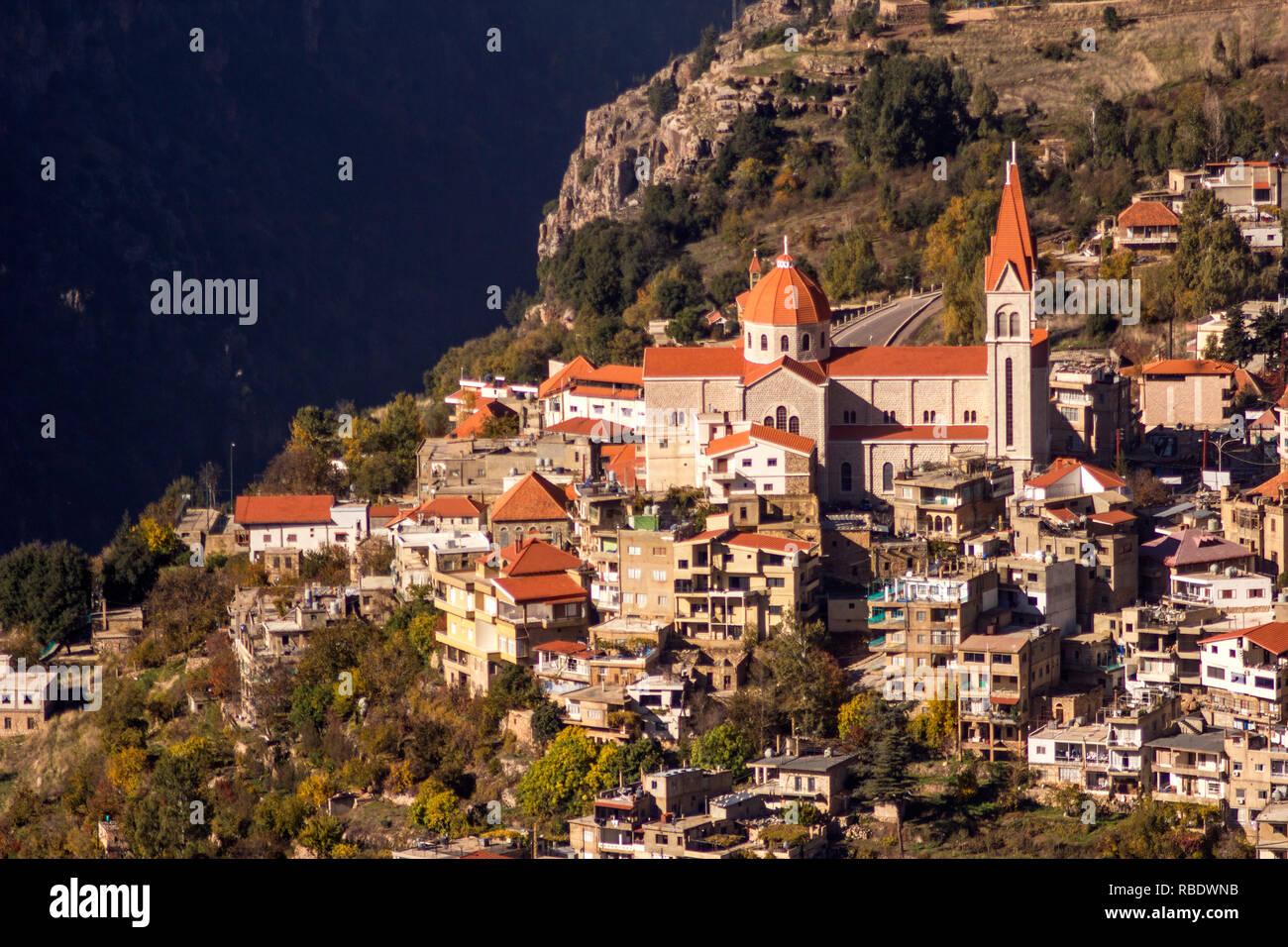 Saint Saba Church or Mar Saba Cathedral, the Maronite Church in Bsharri town near Qadisha Valley and Kadisha Gorge. Bcharreh, Liban-Nord, Lebanon. - Stock Image