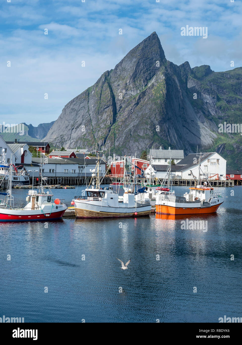 Fisherboats anchor in harbor of Hamnöy, steep mountan cliff of Olstinden in the back, island Moskenesoy, Lofoten, Norway - Stock Image