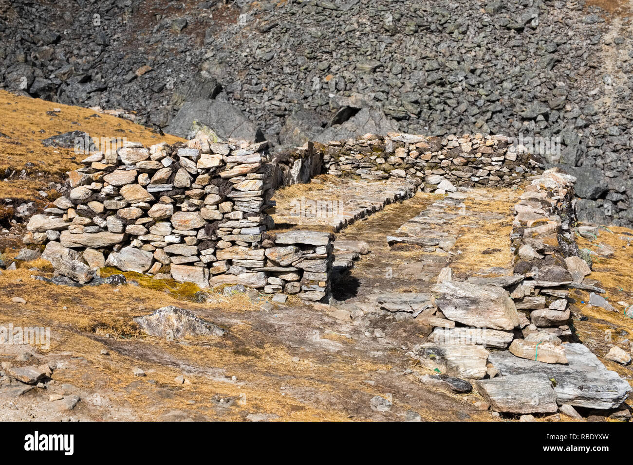roofless stone pilgrim's shelters on the trek to the sacred Gosaikund / Gosainkund / Gosaikunda lakes - Stock Image