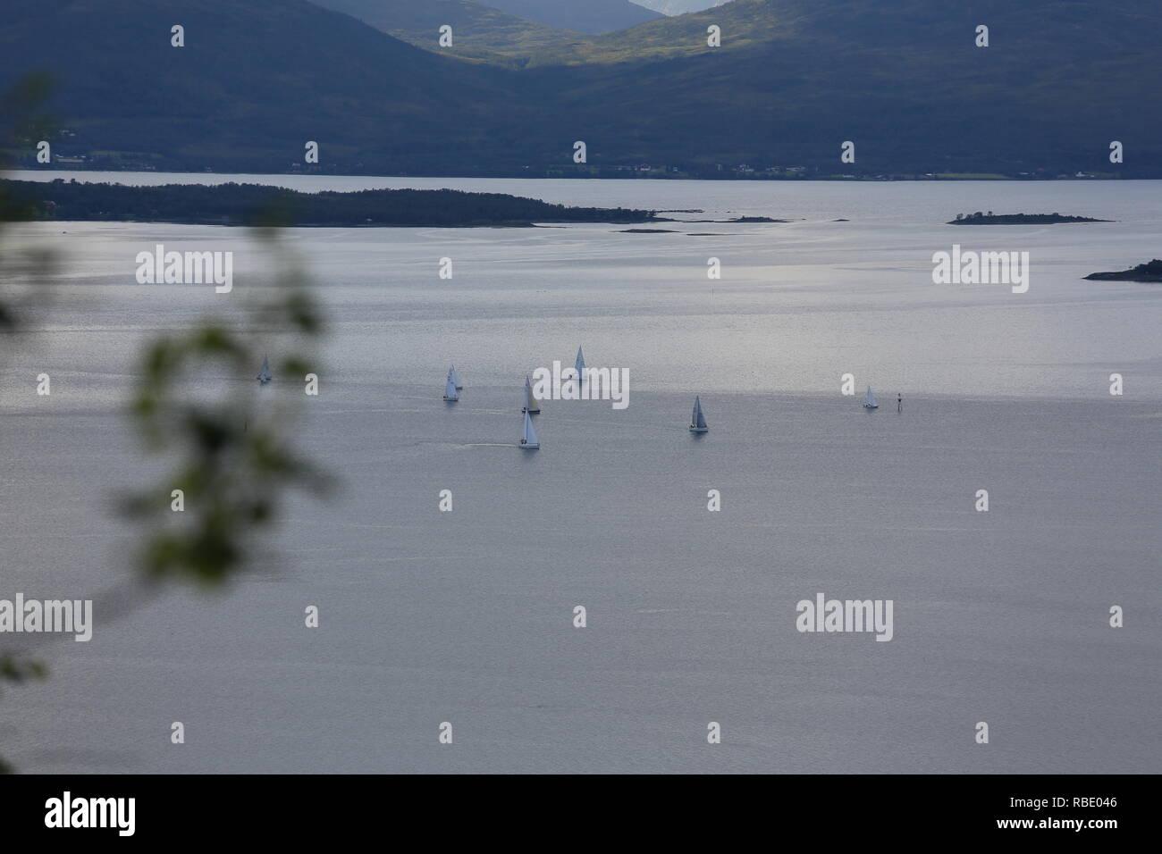 Sailing Regatta In Tromsø - Stock Image