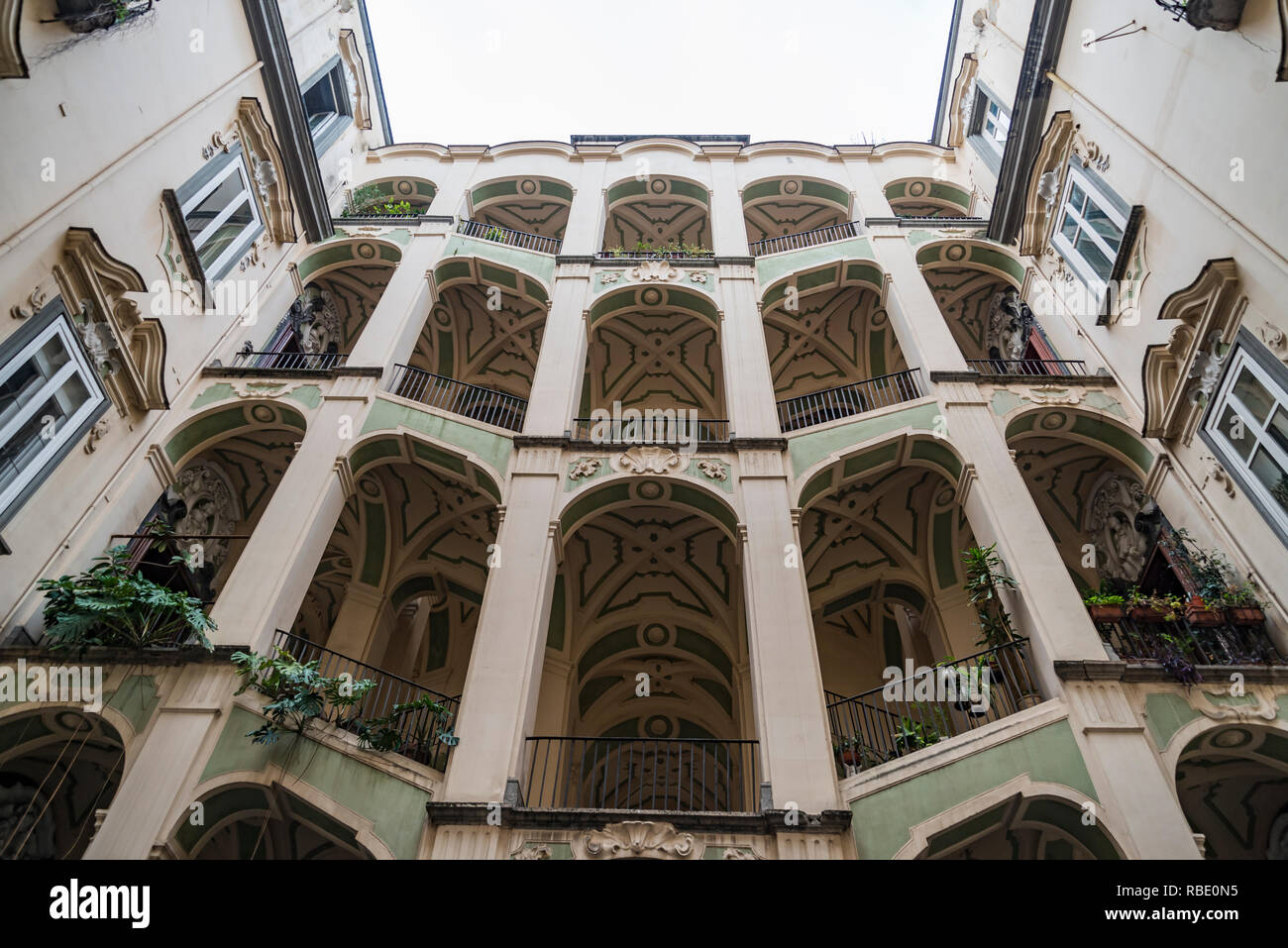 Interior of ancient medieval Spanish palace, Naples Italy - Stock Image