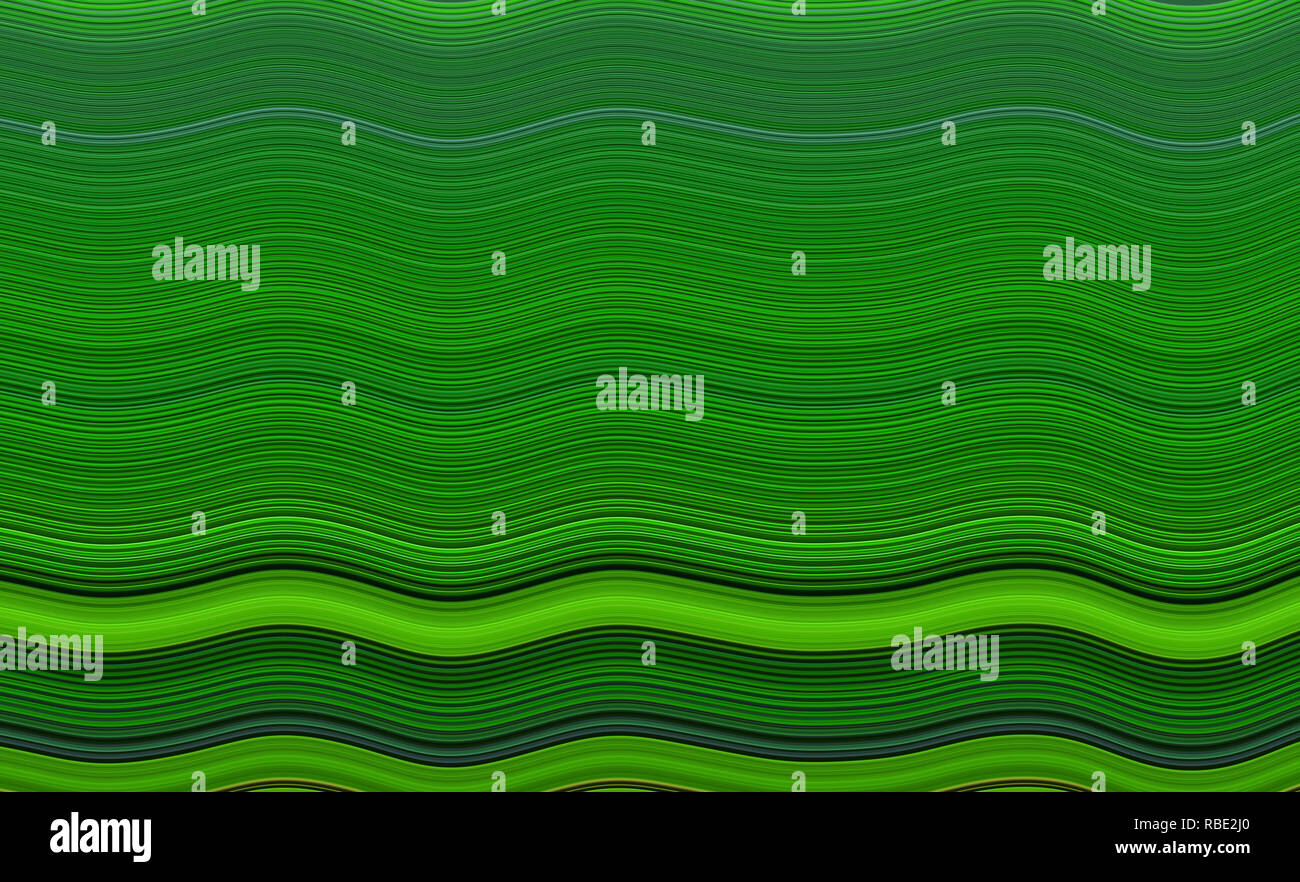 Horizontal wavy lines in shades of green, abstract background with effect Stock Photo