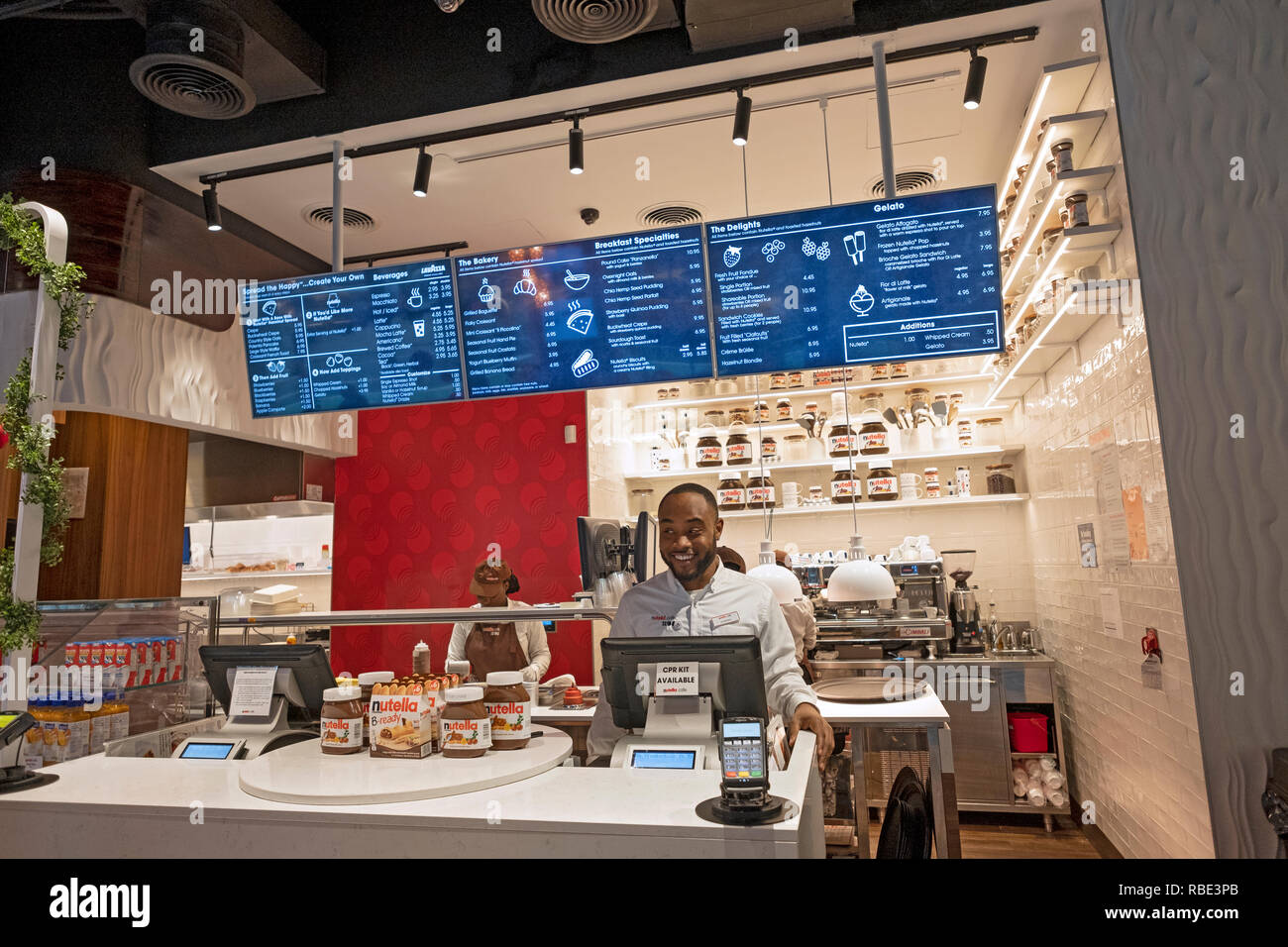 Inside the new NUTELLA CAFE on University Place near Union Square Park in lower Manhattan, New York City. Stock Photo