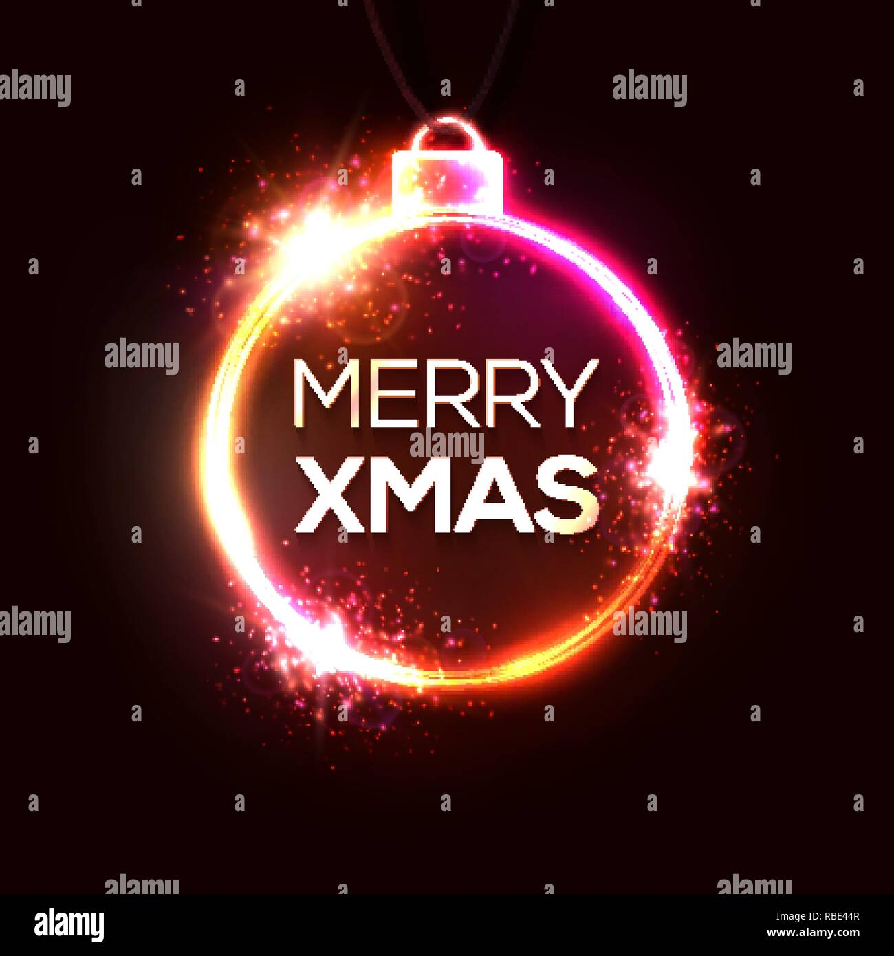 merry xmas neon sign bright signboard light banner christmas and happy new year logo neon greeting card template electric techno explosion frame celebrating background red vector illustration RBE44R