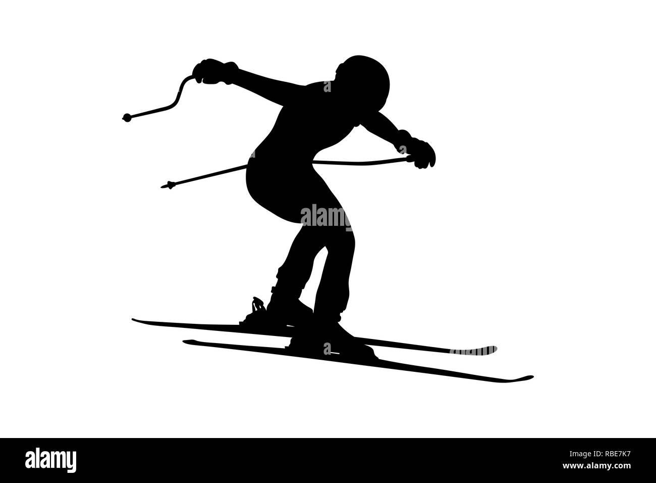 alpine skiing men jump downhill black silhouette - Stock Image
