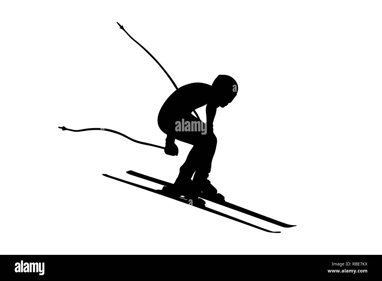 alpine skiing men downhill jump vector illustration - Stock Image