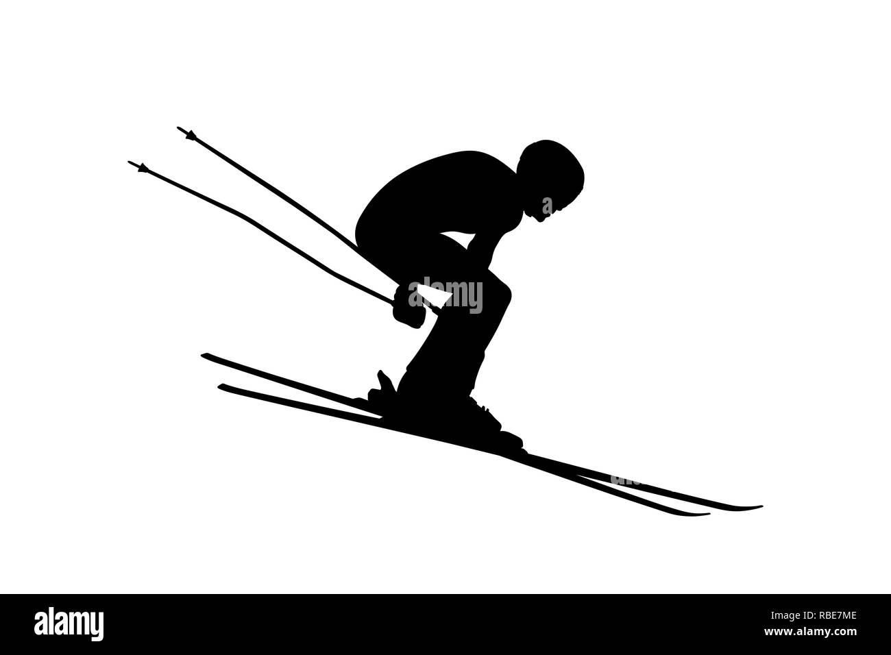 winter sport alpine skiing men athlete downhill - Stock Image