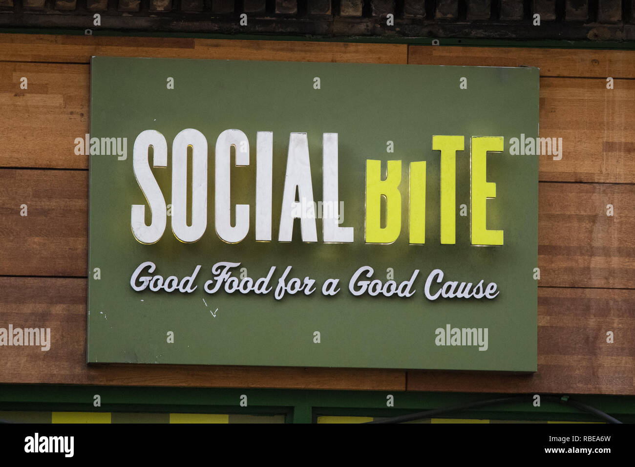 Social Bite cafe sign, Glasgow, Scotland, UK - Stock Image