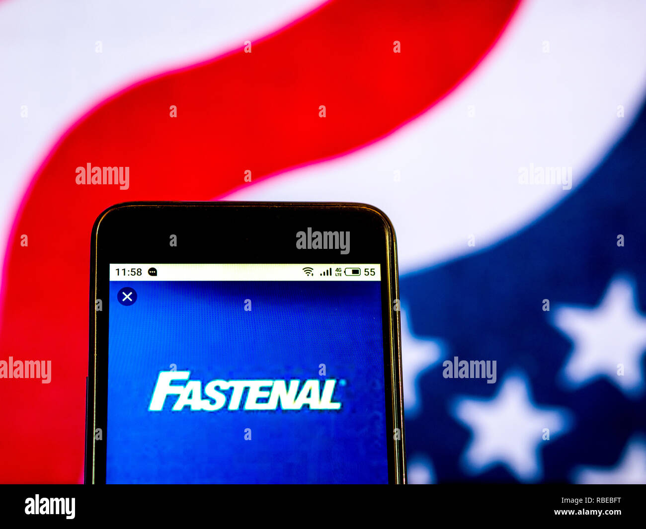 9c239b3bf7d3 Fastenal Industrial supplies company logo seen displayed on smart phone.