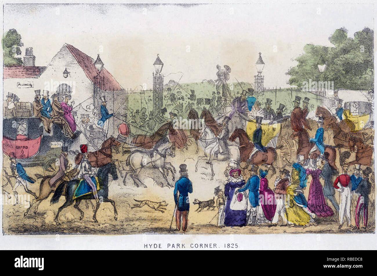 HYDE PARK CORNER,LONDON,1825 - Stock Image