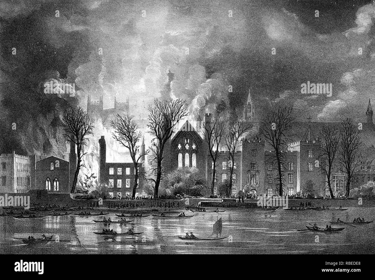 HOUSES OF PARLIAMENT on fire in October 1834 - Stock Image