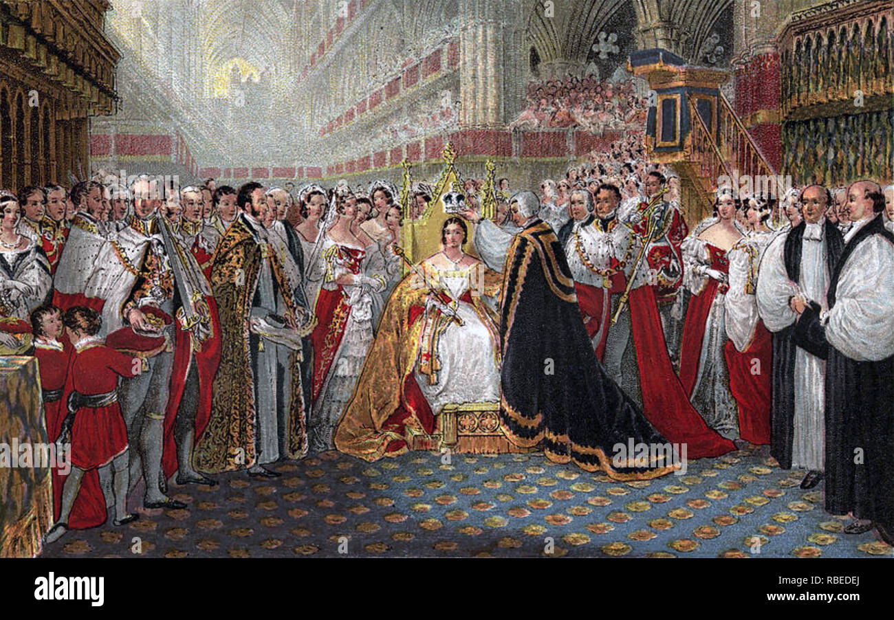CORONATION OF QUEEN VICTORIA in Westminster Abbey ,London, Thursday, 28 June,1838 - Stock Image