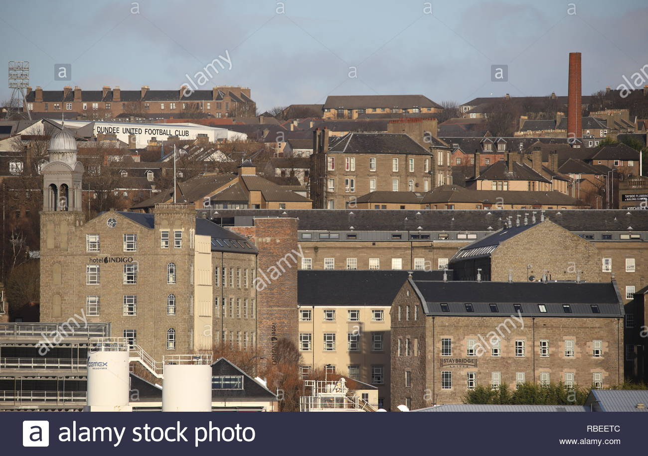 Distant view of Hotel Indigo and Staybridge Suites Dundee Scotland  January 2019 - Stock Image
