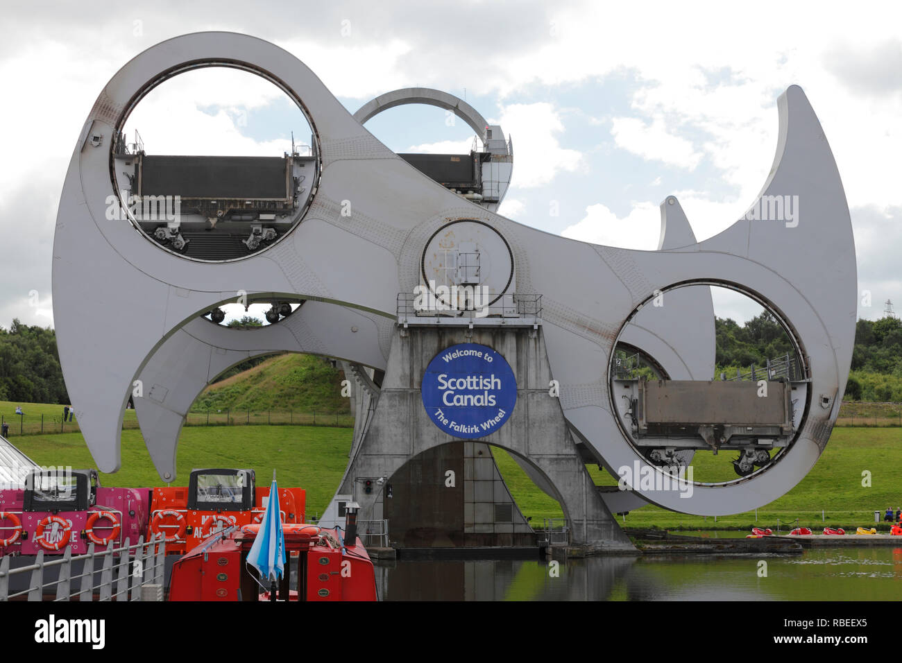 The Falkirk Wheel and the Forth and Clyde Canal Falkirk Scotland Stock Photo