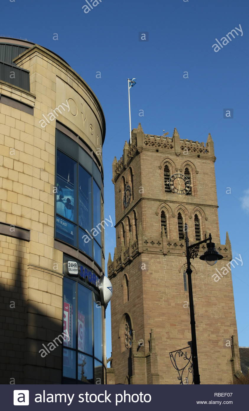Overgate Shopping Centre and St Marys Tower Dundee Scotland  January 2019 - Stock Image