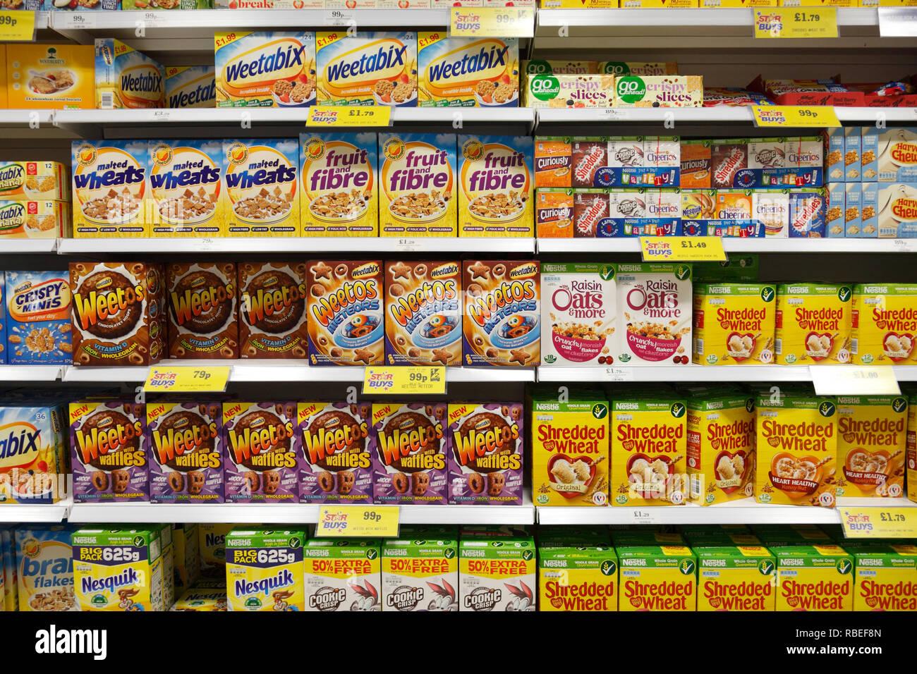 cereals shelf in a supermarket UK - Stock Image