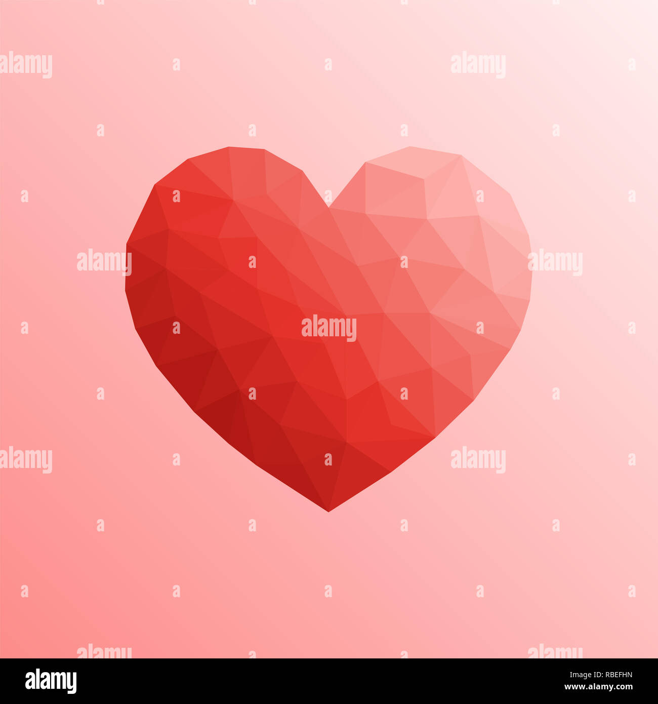 Heart in lowpoly style on bright background - Stock Image