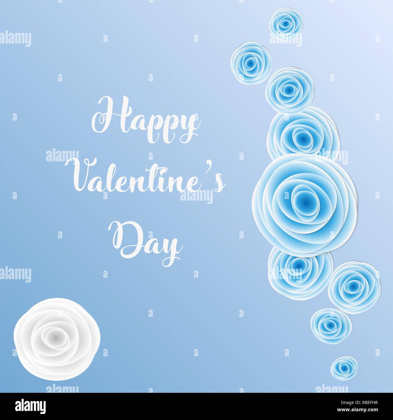 9503e134ebf Happy Valentine's Day greeting card with blue rose light blue background