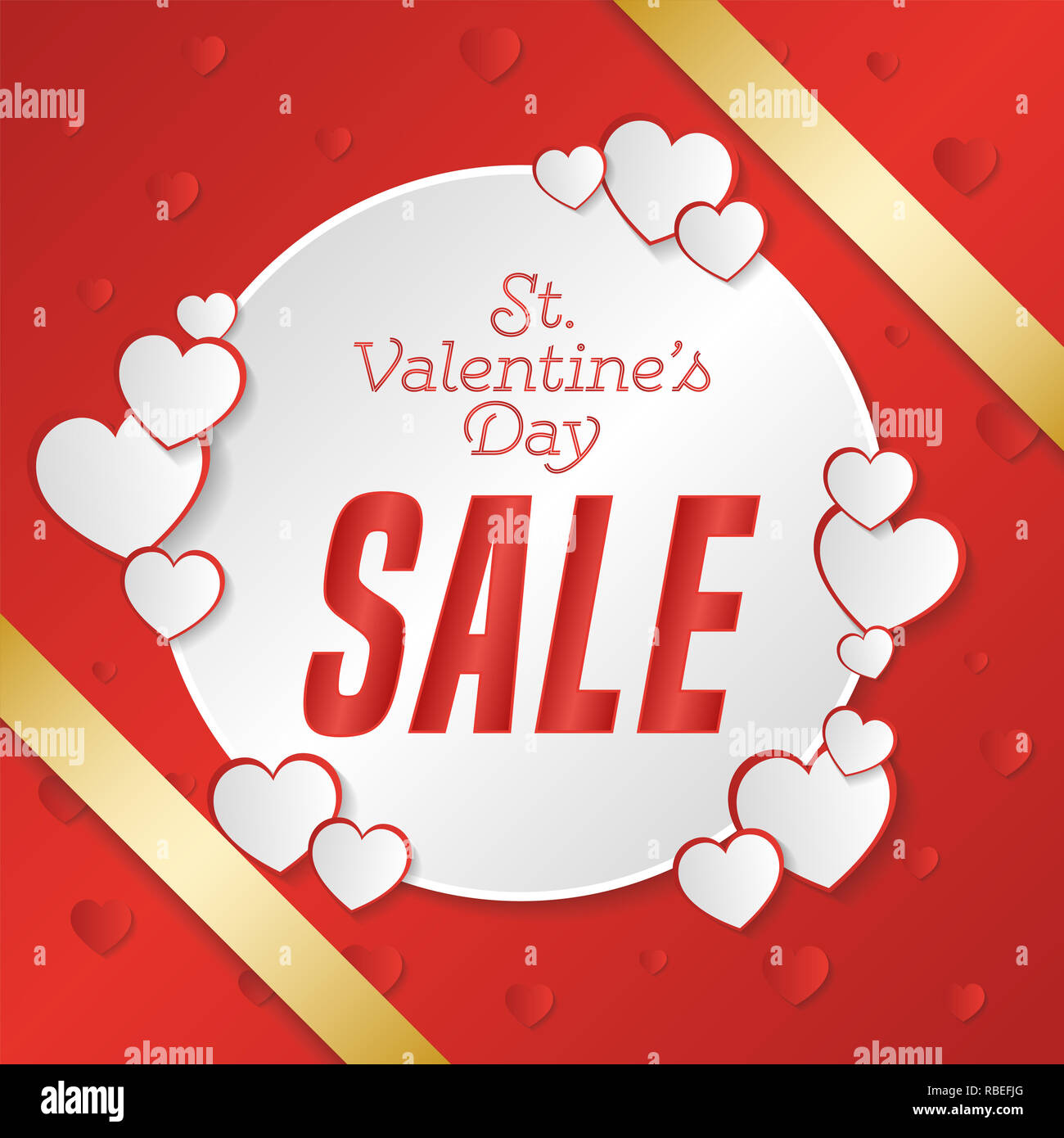 St. Valentine's Day big sale banner. Composition with hearts, gold strip and briight point. Vector illustration. - Stock Image