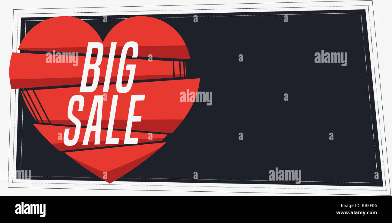 Horizontal big sale banner in vintage style. Composition with geometric shape and copy space for text. Vector illustration. - Stock Image