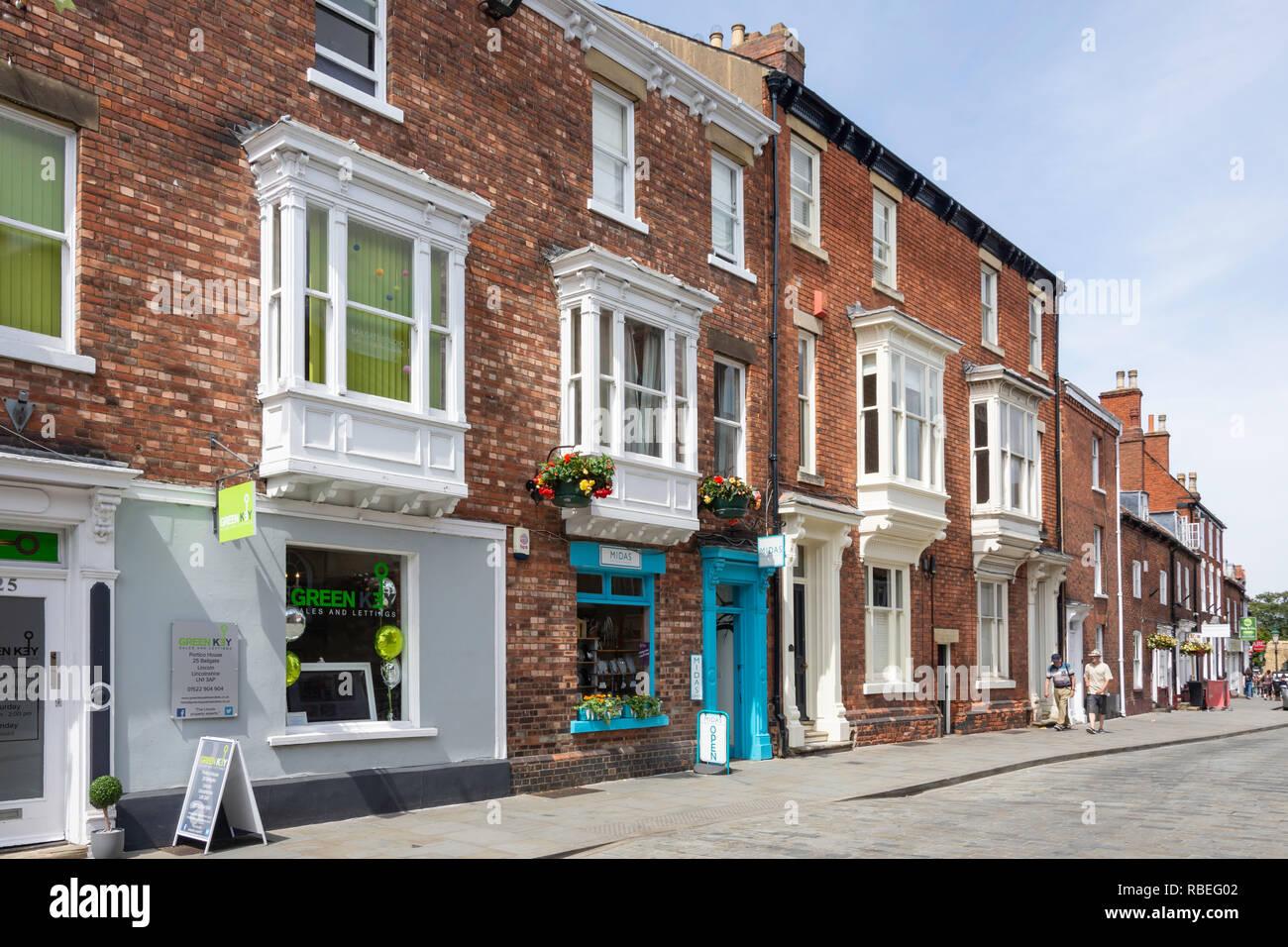 Period buildings, Bailgate, Lincoln, Lincolnshire, England, United Kingdom - Stock Image