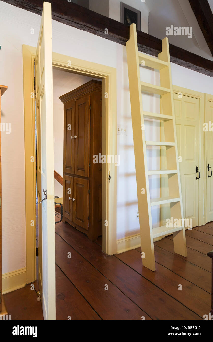 Old Wooden Ladder Leading To The Attic In The Master Bedroom On The Upstairs Floor Inside An Old Reconstructed 1886 Canadiana Style Home Stock Photo Alamy