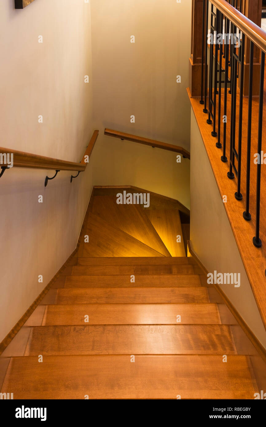 Stained Cherry Wood Staircase With Handrails And Railing ...