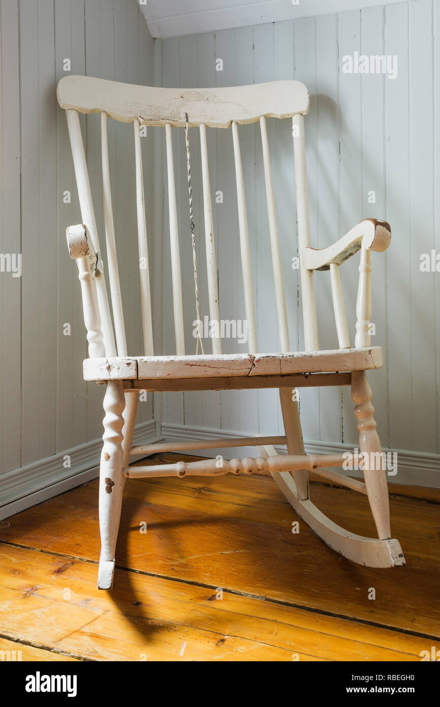Astounding Antique White Painted Wooden Rocking Chair In Corner Of Download Free Architecture Designs Rallybritishbridgeorg