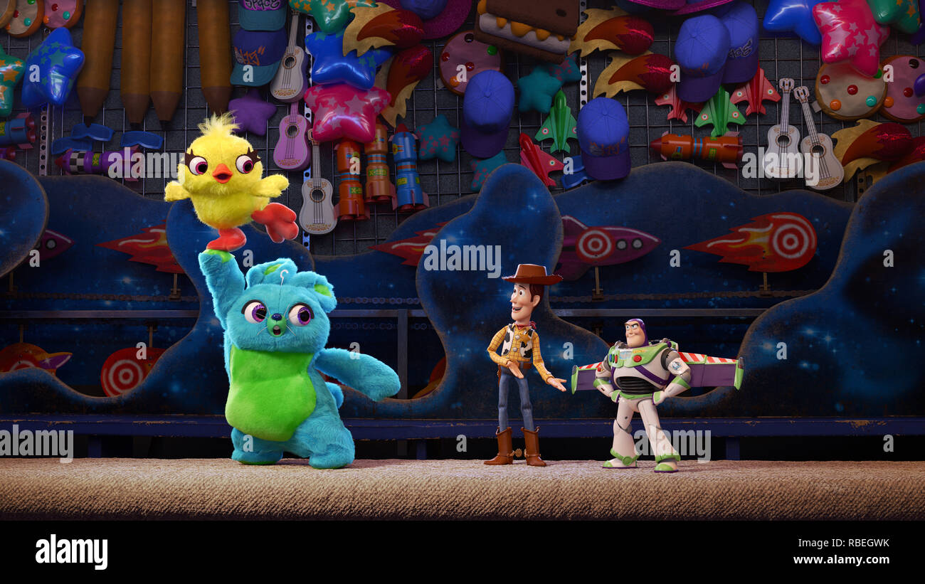 RELEASE DATE: June 21, 2019 TITLE: Toy Story 4 STUDIO: Pixar Studios DIRECTOR: Josh Cooley PLOT: When a new toy called Forky joins Woody and the gang, a road trip alongside old and new friends reveals how big the world can be for a toy. STARRING: Keegan-Michael Key and Jordan Peele provide the voices of Ducky and Bunny. (Credit Image: © Pixar Studios/Entertainment Pictures) Stock Photo