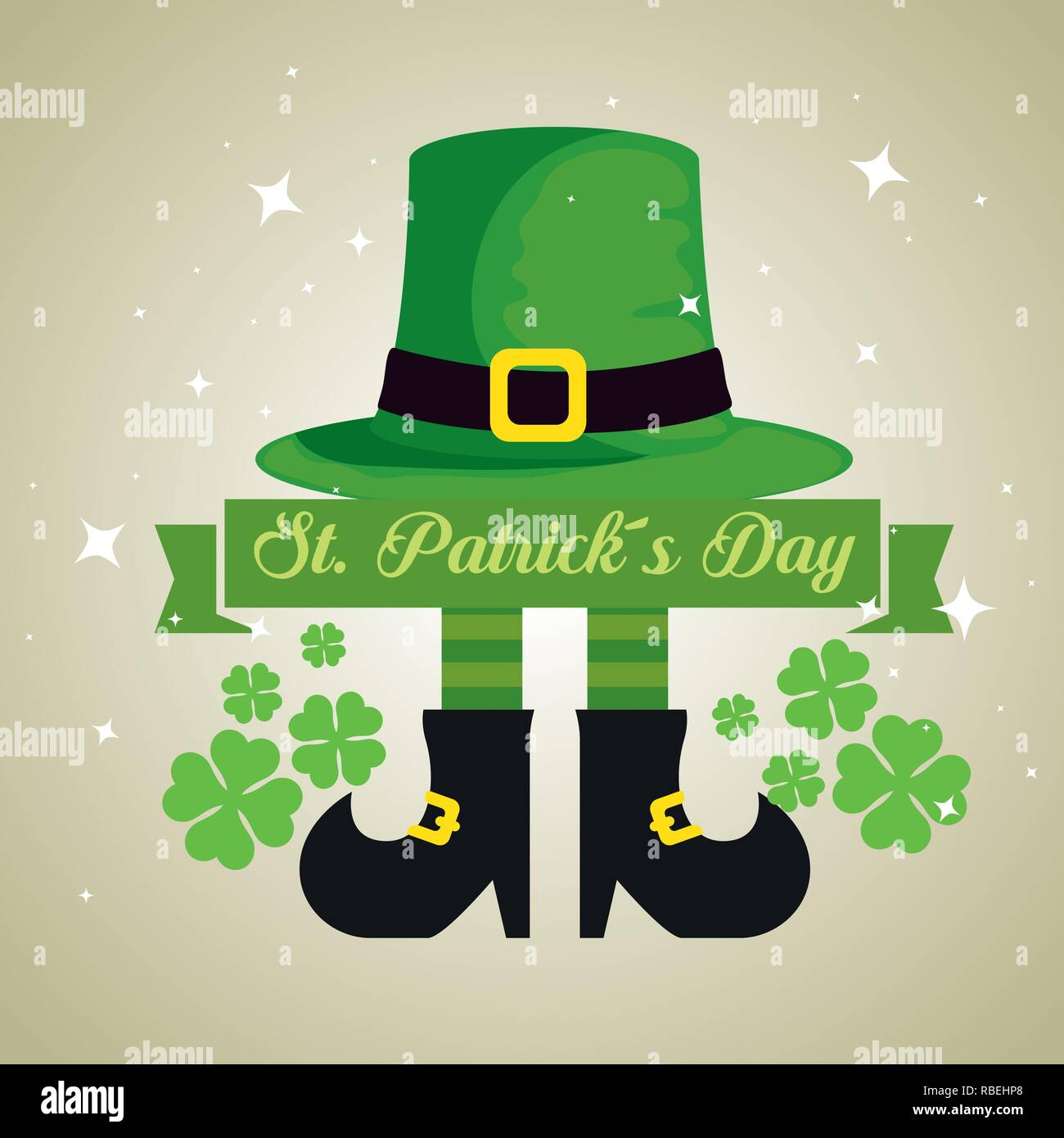 st partick hat with boots and clovers decoration - Stock Image
