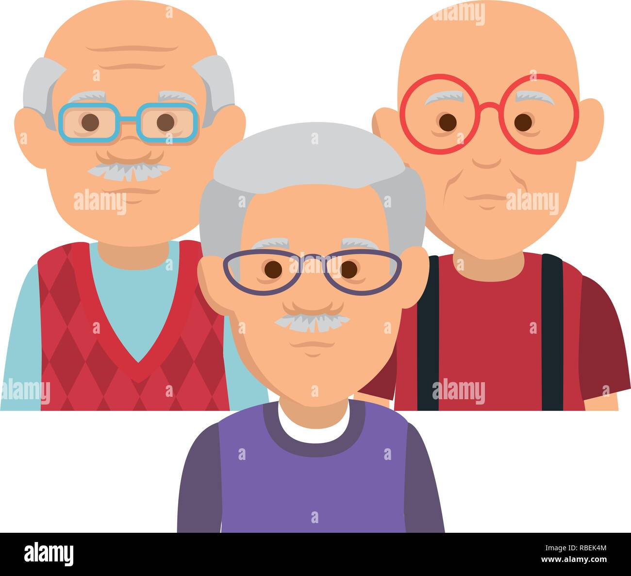 cute grandfathers avatars characters - Stock Vector