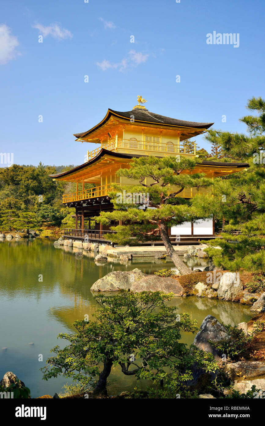 """Kinkakuji, Kyoto. Also called """"Golden Pavillon"""", this Buddhist Temple ranks among the most iconic buildings in Japan. - Stock Image"""