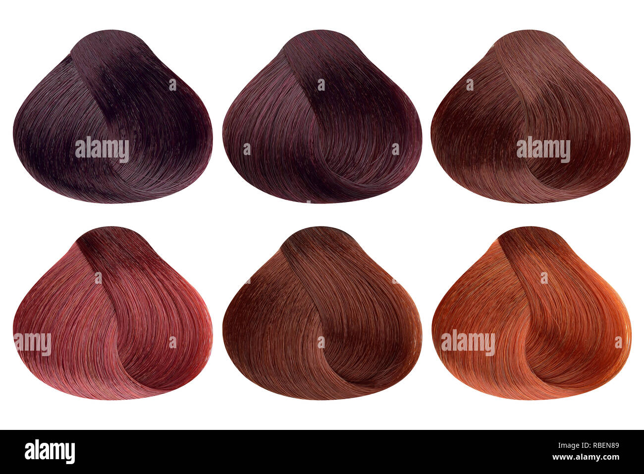 Set Of Locks Of Six Different Red Hair Color Samples