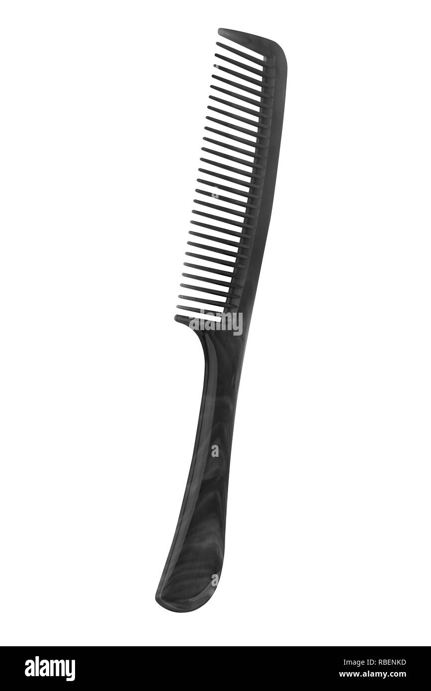Black plastic comb with handle, isolated on transparent or white background - Stock Image