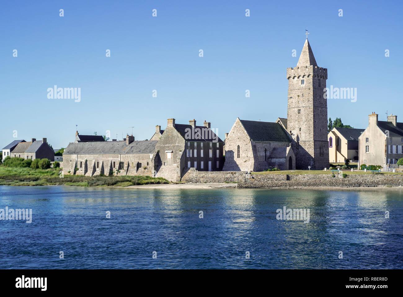 Église Notre-Dame church at the village Portbail / Port-Bail, Manche, Normandy, France - Stock Image