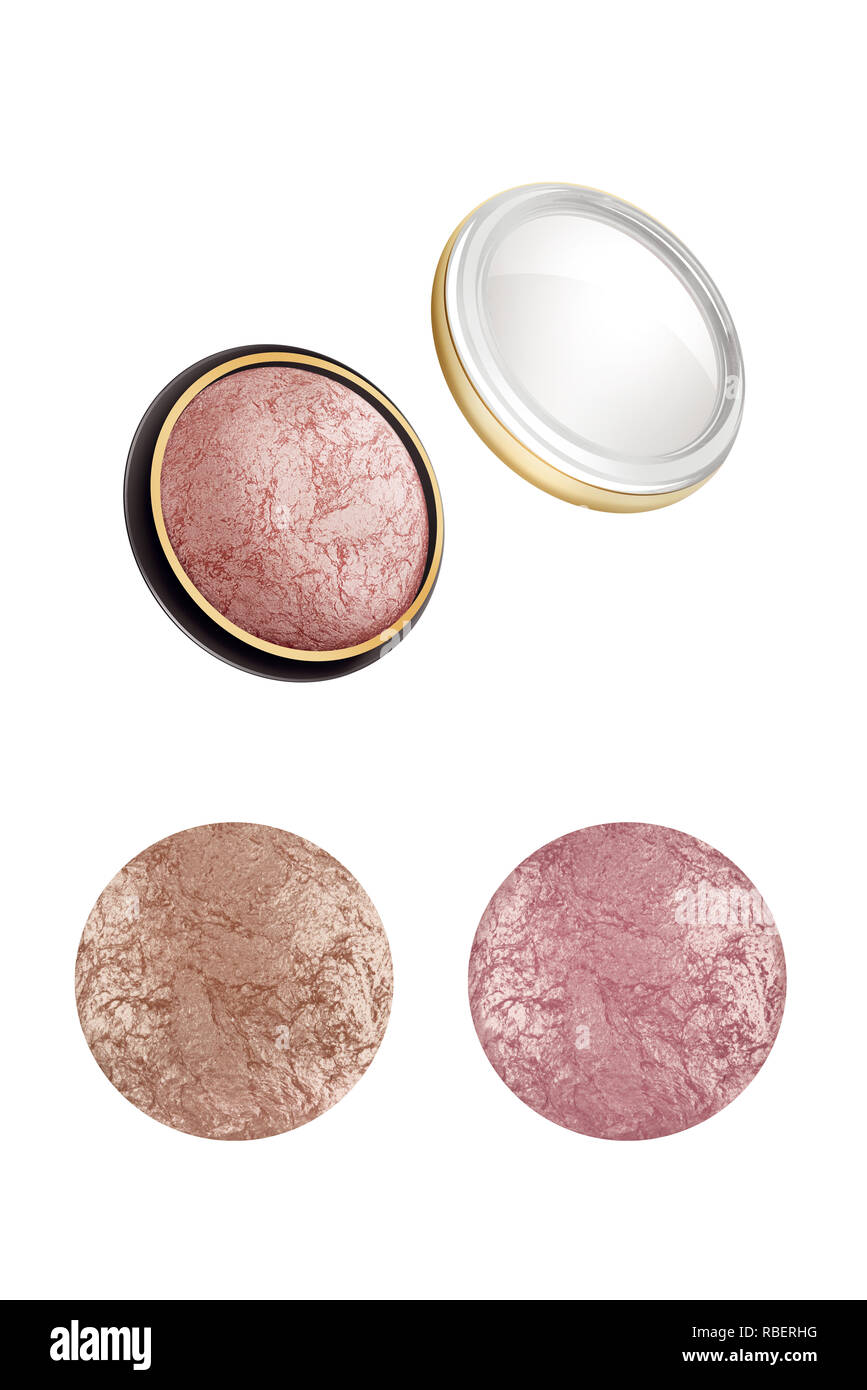 Cosmetic compact face powder with two high resolution samples, beauty products isolated on white background, clipping paths included - Stock Image