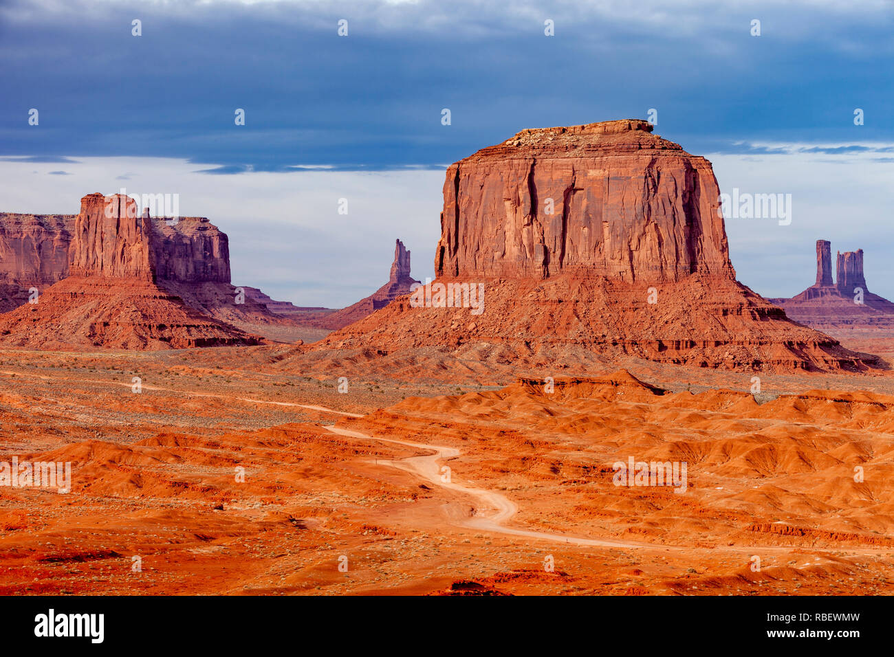 Merrick Butte and the rock formations of Monument Valley, Navajo Tribal Park, Arizona, USA - Stock Image
