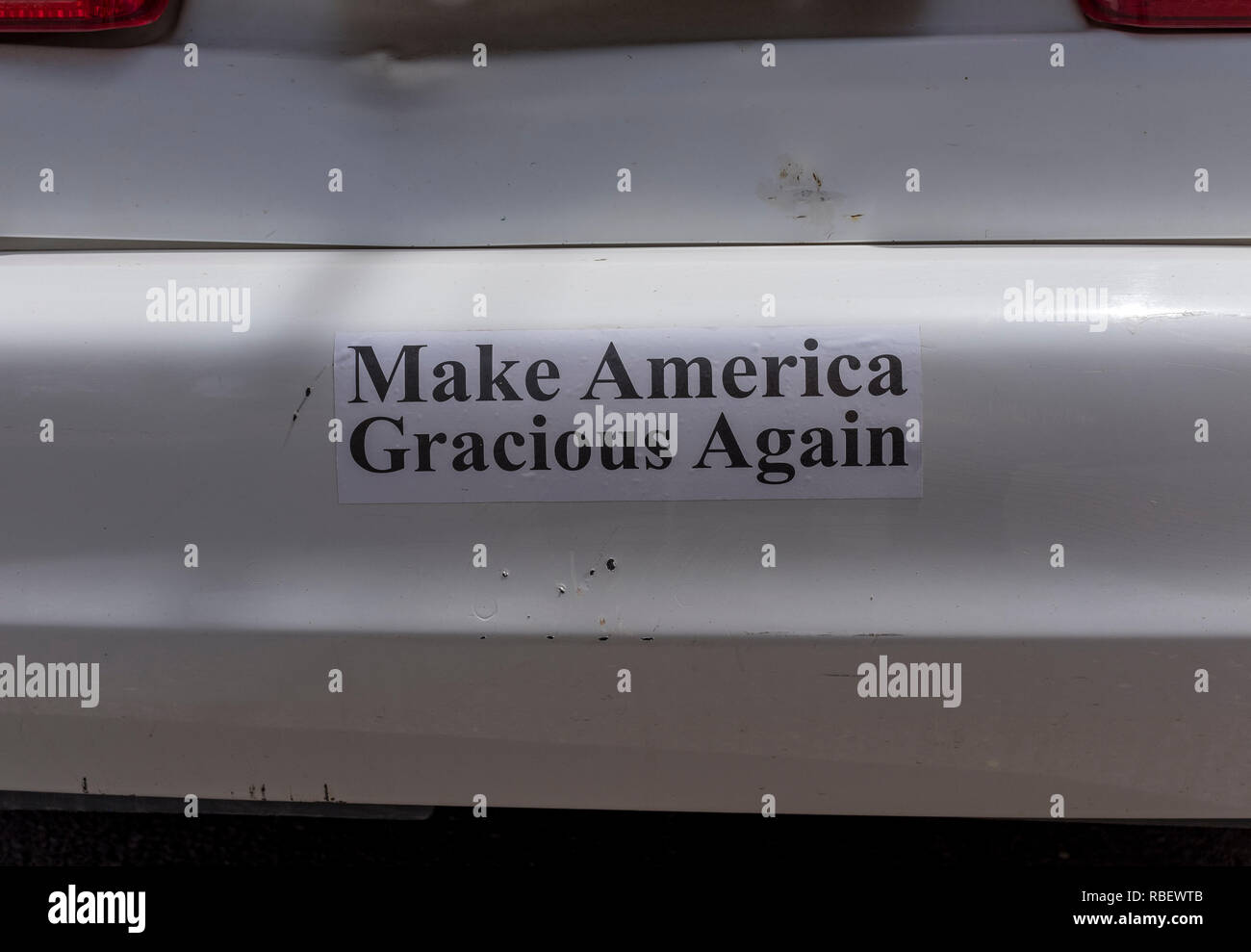 Bumper sticker message make america gracious again stock image