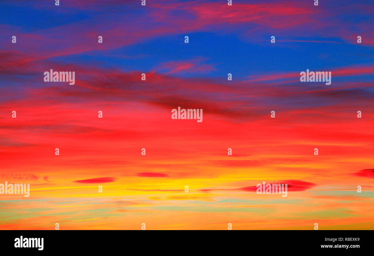 Dramatic, deep red, violent, sky, sunset, cloud, clouds, rich colour, color,skies, Norfolk, England, UK - Stock Image