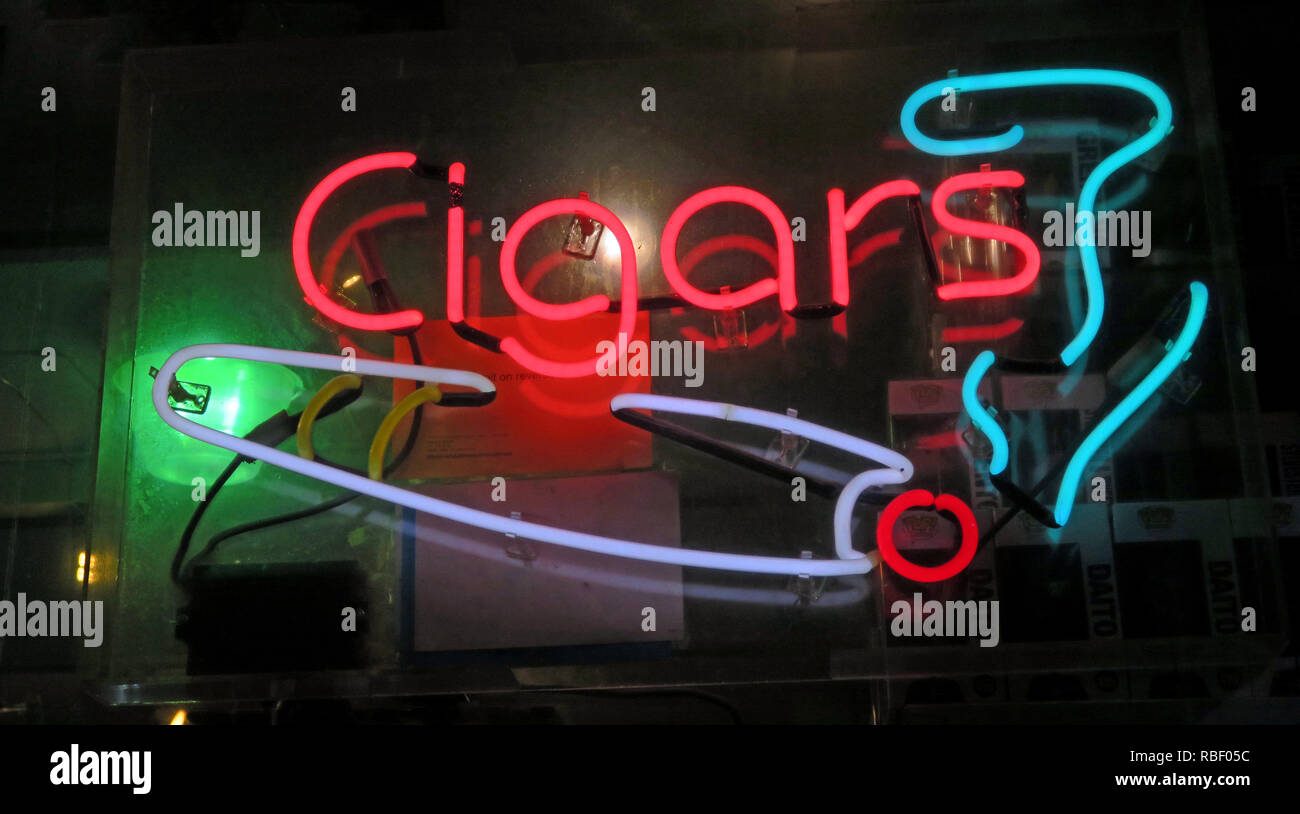 Cigars, pipes and Tobacco Products shop, Neon sign, smoke and smoking, Manhattan, New York City, NYC, USA - Stock Image