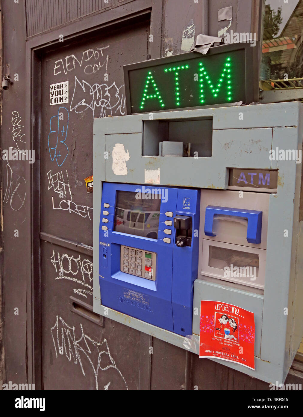 US Street ATM, Hyosung ATM, Saint Marks Place, East Village, Manhattan, New York City, NYC, NY , USA - Stock Image