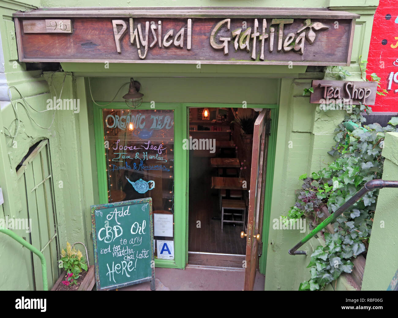 Physical Graffitea ( Physical Graffiti ) after Led Zeppelin album, cafe, 96 St Marks Pl, New York, NY 10009, USA Stock Photo