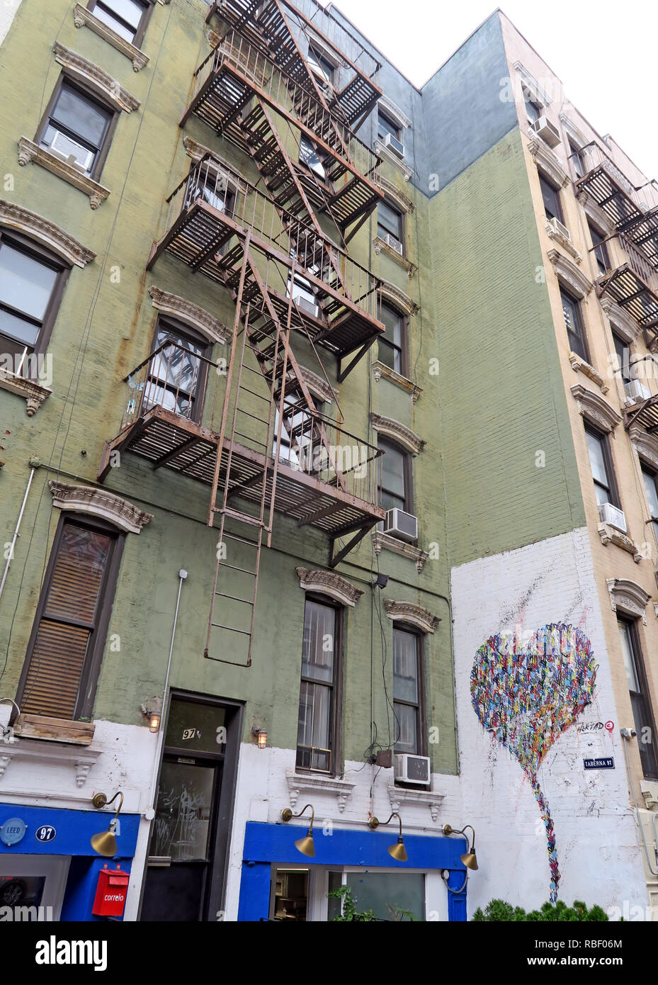 New York tenements, East 6th Street, East Village, Manhattan, New York City, NYC, NY, USA - Stock Image